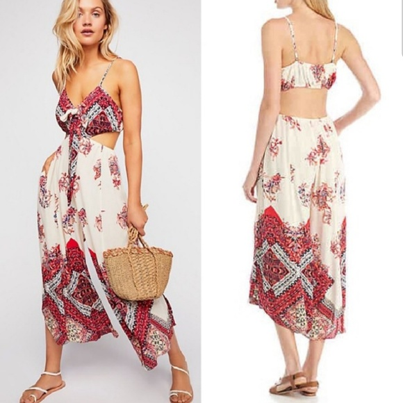 bebf17125211 Free People Pants - NWOT Free People Bella Printed Cut-out Jumpsuit